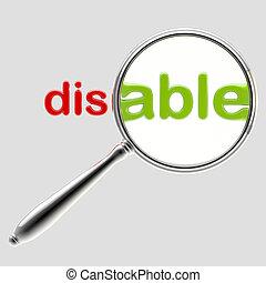 """woord, """"disable"""", vrijstaand, onder, embleem, vergrootglas"""
