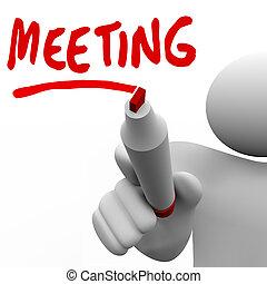 woord, discussie, op, schrijvende raad, ontmoeten, vergadering, man