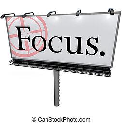 woord, doel, missie, brandpunt, concentreren, buitenreclame, mikkend