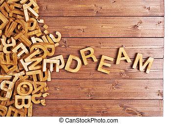 woord, droom, gemaakt, met, houten, brieven