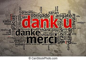 woord, dutch:, u, dank, dank, achtergrond, grunge, wolk, open