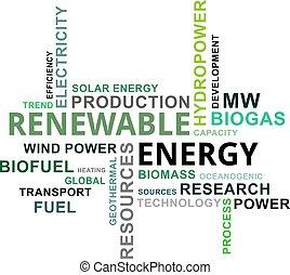 woord, energie, -, wolk, vernieuwbaar