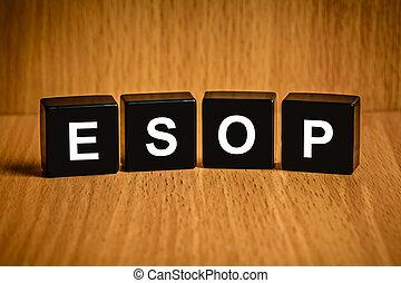 woord, esop, programma, black , werknemer, liggen, of, blok...