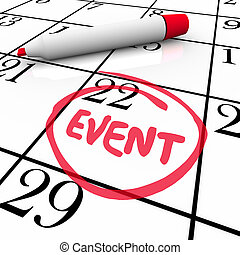 woord, gebeurtenis, omcirkelde, datum, feestje, kalender, ...