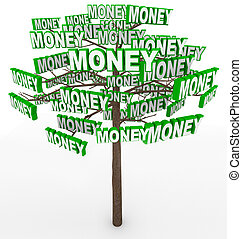 woord, geldboom, bomen, groeiende, takken