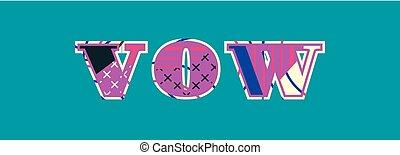 woord, gelofte, concept, kunst, illustratie