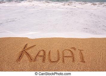 woord, geschreven, getijde, zand, surging, kauai, voorkant