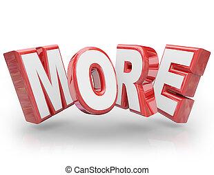 woord, grootere, 3d, verhogen, opeisen, meer, groter, verbeteren