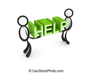 woord, helpen, mensen, kleine, hands., 3d