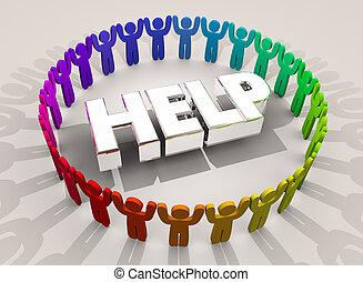 woord, helpen, mensen, steun, illustratie, cirkel, hulp, 3d