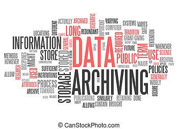 woord, het archiveren, data, wolk