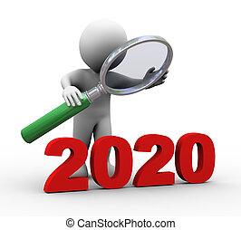 woord, het kijken, 2020, vergrootglas, man, 3d