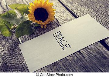 woord, houten, vrede, informatietechnologie, papier, het liggen, bureau, witte , stuk, textured