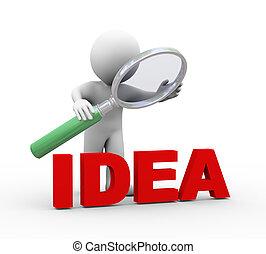 woord, idee, het kijken, vergrootglas, 3d, man