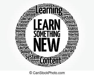 woord, iets, leren, nieuw, cirkel, wolk