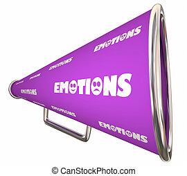 woord, illustratie, gevoel, bullhorn, emoties, megafoon, 3d