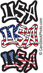 woord, illustration., usa, vector, graffiti, style.
