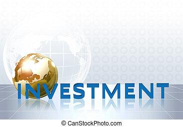 woord, investering, -, handel concept