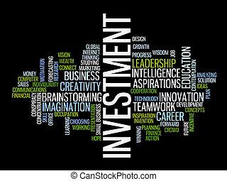 woord, investering, wolk, strategie