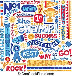 woord, kampioen, plek, eerst, doodles