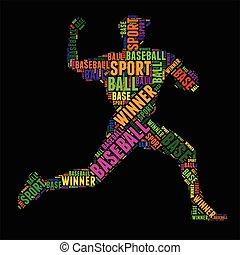 woord, kleurrijke, typografie, illustratie, vector, honkbal, wolk