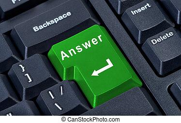 woord, knoop, groot, computer, groene, richtingwijzer, toetsenbord, antwoord, close-up.
