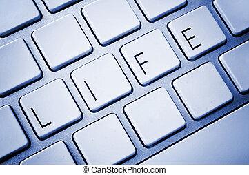 woord, leven, op, computer toetsenbord