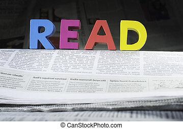 woord, lezen, op, krant