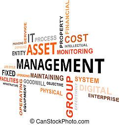 woord, management, -, aanwinst, wolk