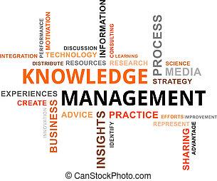woord, management, -, kennis, wolk