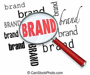 woord, marketing, brandmerken trouw, glas, woorden, vergroten