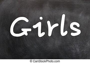 woord, -, meiden, krijt, geschreven, witte
