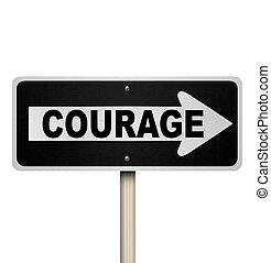 woord, meldingsbord, straat, straat, weg, een, moed, ...