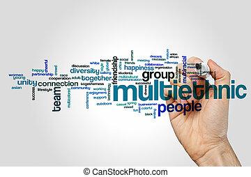 woord, multiethnic, wolk