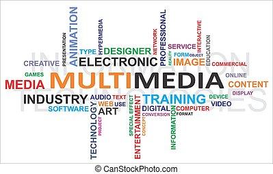 woord, multimedia, -, wolk