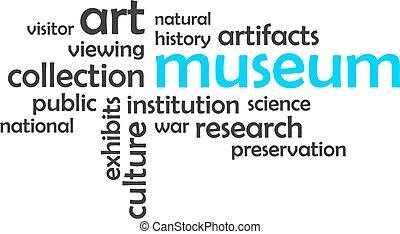 woord, museum, -, wolk