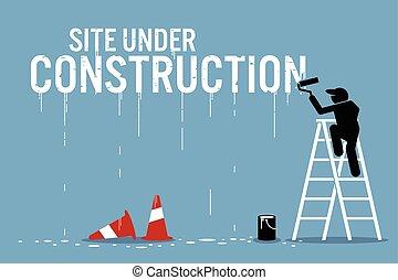 woord, muur, bouwterrein, bouwsector, onder, schilderij, schilder