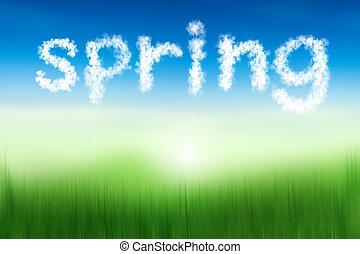 woord, natuur, lente, textuur, achtergrond, verdoezelen, zwevend, zacht, wolk