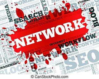 woord, netwerk, wolk