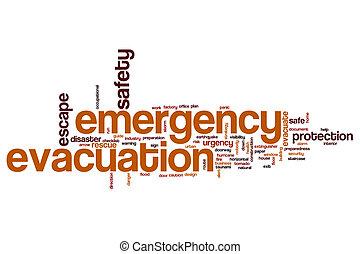 woord, noodgeval, wolk, evacuatie