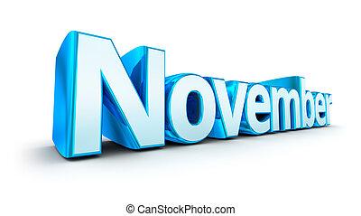 woord, november, 3d, concept, op, witte
