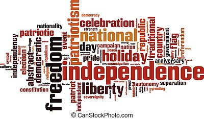 woord, onafhankelijkheid, wolk