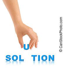 woord, oplossing, hand
