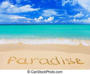 woord, paradijs, op, strand