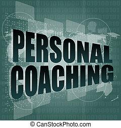 woord, persoonlijk, moderne, feitelijk, scherm, coachend, achtergrond, beroeren, technologie