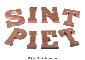 """woord, """"piet', chocolade, brieven, vervaardiging, 'sint'"""