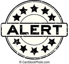 woord, postzegel, alarm, rubber, zwarte achtergrond, zeehondje, grunge, witte , ster, ronde, pictogram