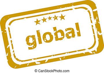 woord, postzegel, globaal, vrijstaand, grunge, witte