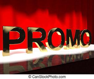 woord, promo, het tonen, verkoop, korting, spaarduiten, of, toneel