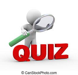 woord, quiz, het kijken, vergrootglas, man, 3d